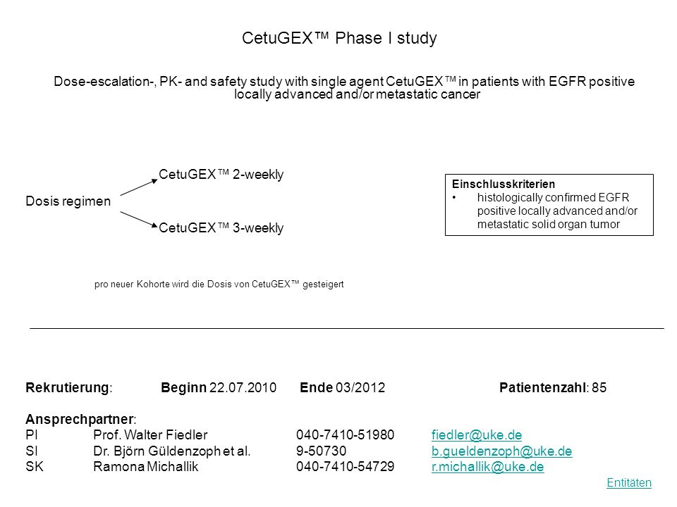 CetuGEX Phase I study Dose-escalation-, PK- and safety study with single agent CetuGEX in patients with EGFR positive locally advanced and/or metastat