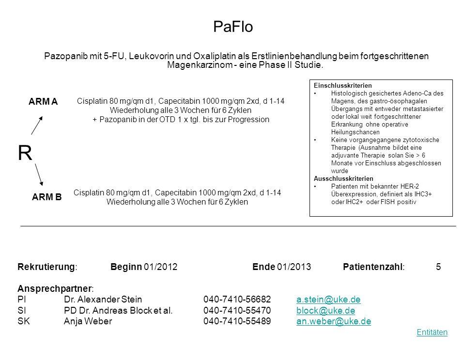 PaFlo Pazopanib mit 5-FU, Leukovorin und Oxaliplatin als Erstlinienbehandlung beim fortgeschrittenen Magenkarzinom - eine Phase II Studie. R Rekrutier