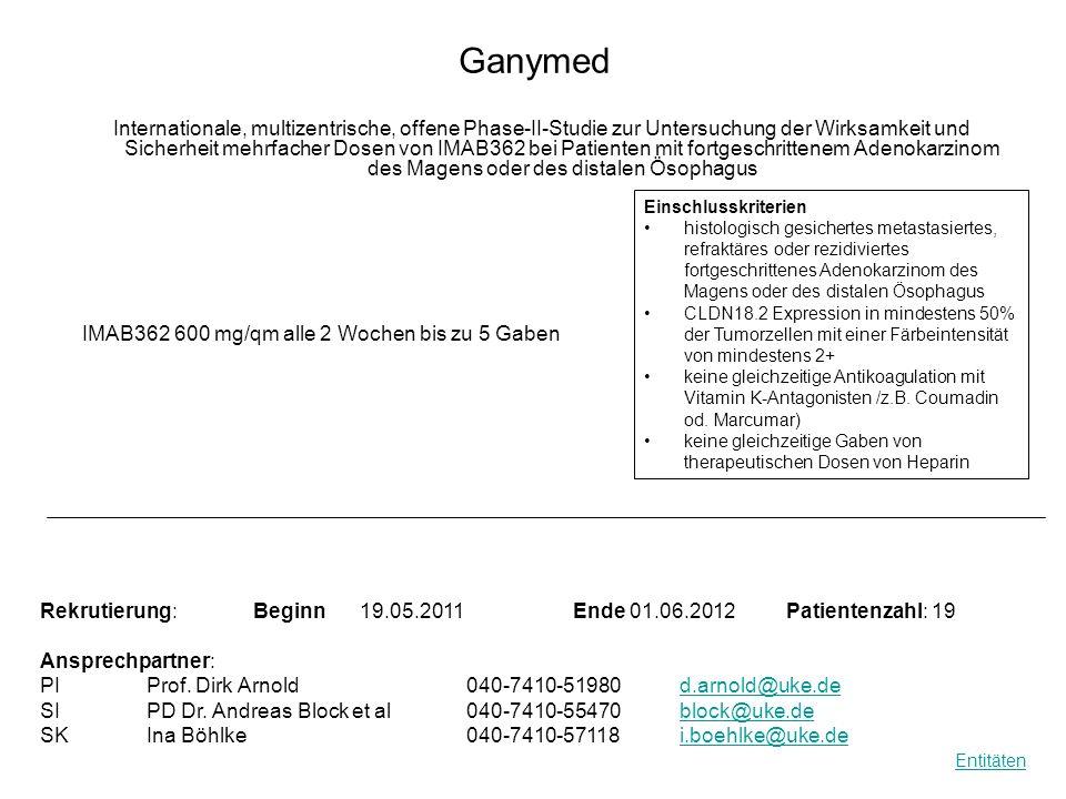 Ganymed Internationale, multizentrische, offene Phase-II-Studie zur Untersuchung der Wirksamkeit und Sicherheit mehrfacher Dosen von IMAB362 bei Patie