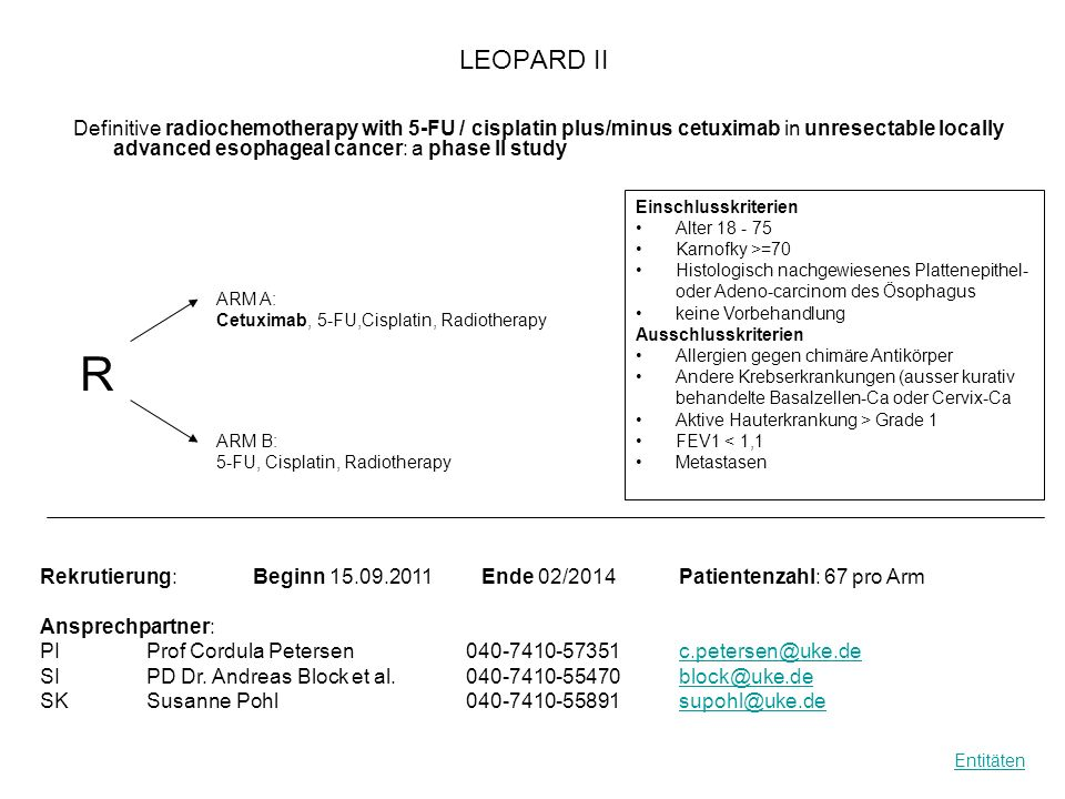 LEOPARD II Definitive radiochemotherapy with 5-FU / cisplatin plus/minus cetuximab in unresectable locally advanced esophageal cancer: a phase II stud