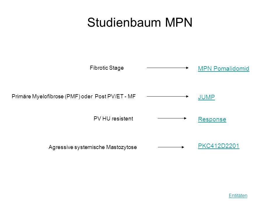 Studienbaum MPN Entitäten MPN Pomalidomid Primäre Myelofibrose (PMF) oder Post PV/ET - MF JUMP PV HU resistent Response Agressive systemische Mastozyt