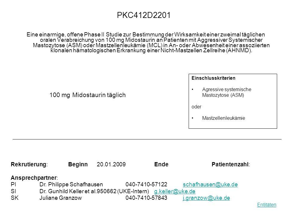 PKC412D2201 Eine einarmige, offene Phase II Studie zur Bestimmung der Wirksamkeit einer zweimal täglichen oralen Verabreichung von 100 mg Midostaurin
