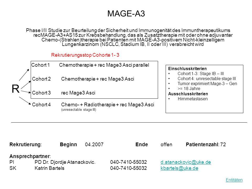 MAGE-A3 Phase I/II Studie zur Beurteilung der Sicherheit und Immunogenität des Immuntherapeutikums recMAGE-A3+AS15 zur Krebsbehandlung, das als Zusatz