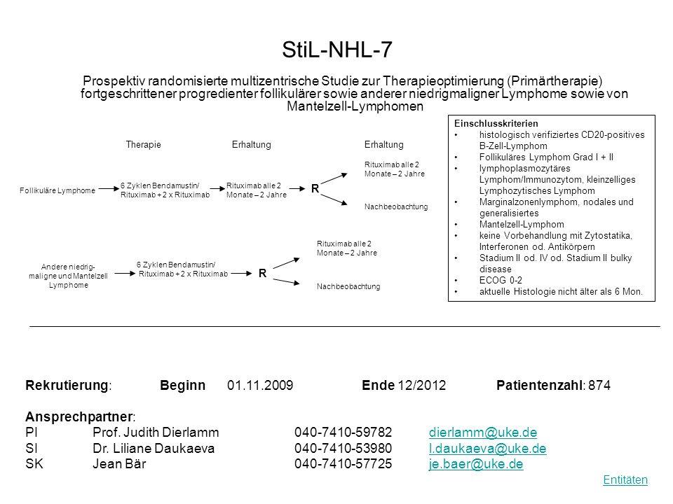StiL-NHL-7 Prospektiv randomisierte multizentrische Studie zur Therapieoptimierung (Primärtherapie) fortgeschrittener progredienter follikulärer sowie