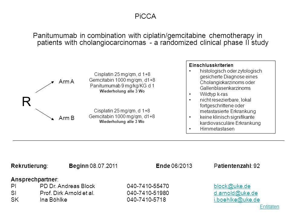 Response Eine randomisierte, offene, multizentrische Phase III-Studie zur Untersuchung der Wirksamkeit und Sicherheit bei Patienten mit Polycythaemia Vera, die resistent oder intolerant gegenüber Hydroxyurea sind: JAK Inhibitor INC424 Tabletten versus der besten, verfügbaren Therapie (RESPONSE Studie) Pre-Randomization D -28 to d -1 Rekrutierung: Beginn06.04.2011 Ende Patientenzahl: 300 Ansprechpartner: PIDr.
