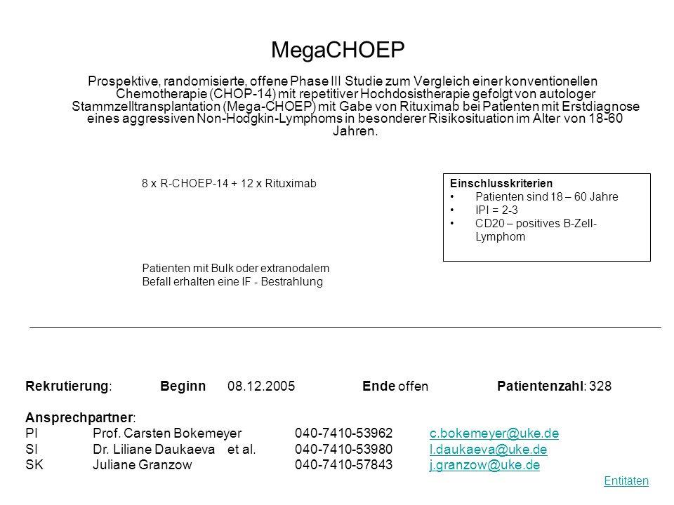 MegaCHOEP Prospektive, randomisierte, offene Phase III Studie zum Vergleich einer konventionellen Chemotherapie (CHOP-14) mit repetitiver Hochdosisthe