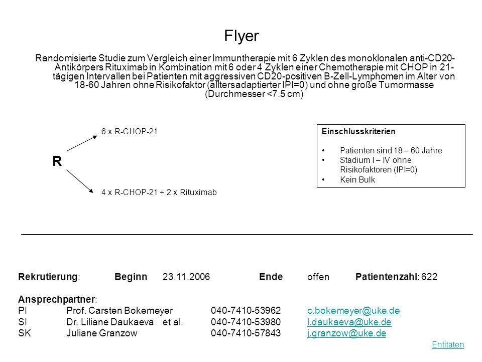 Flyer Randomisierte Studie zum Vergleich einer Immuntherapie mit 6 Zyklen des monoklonalen anti-CD20- Antikörpers Rituximab in Kombination mit 6 oder