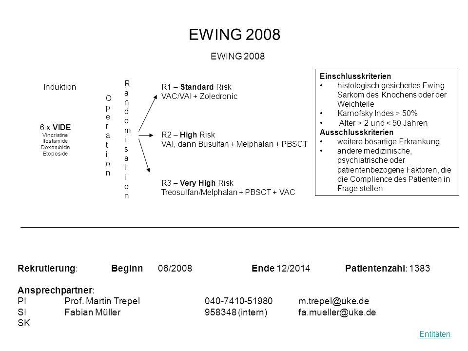 EWING 2008 RandomisationRandomisation Rekrutierung: Beginn06/2008Ende 12/2014Patientenzahl: 1383 Ansprechpartner: PIProf. Martin Trepel 040-7410-51980