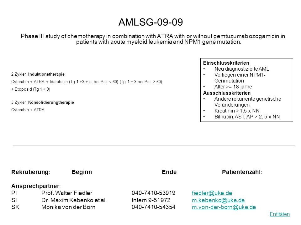 AMLSG-09-09 Phase III study of chemotherapy in combination with ATRA with or without gemtuzumab ozogamicin in patients with acute myeloid leukemia and