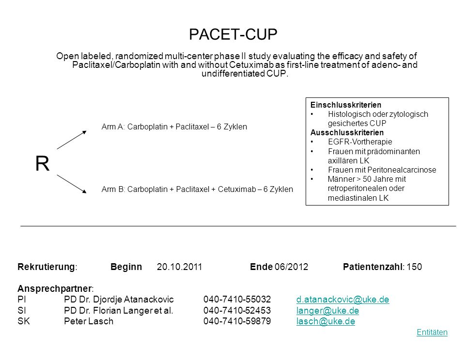 PACET-CUP Open labeled, randomized multi-center phase II study evaluating the efficacy and safety of Paclitaxel/Carboplatin with and without Cetuximab