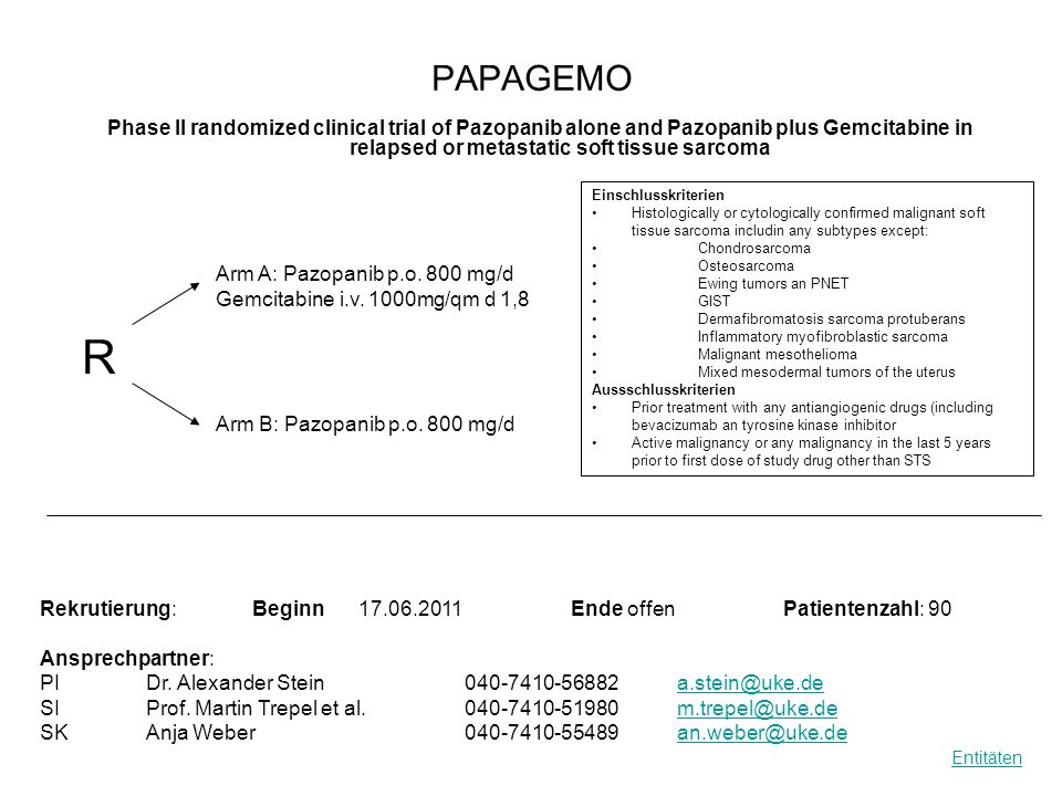 PAPAGEMO Phase II randomized clinical trial of Pazopanib alone and Pazopanib plus Gemcitabine in relapsed or metastatic soft tissue sarcoma Rekrutieru