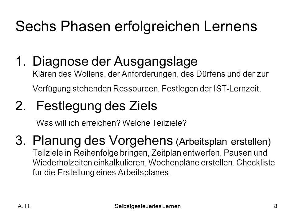 A. H.Selbstgesteuertes Lernen8 1.Diagnose der Ausgangslage Klären des Wollens, der Anforderungen, des Dürfens und der zur Verfügung stehenden Ressourc
