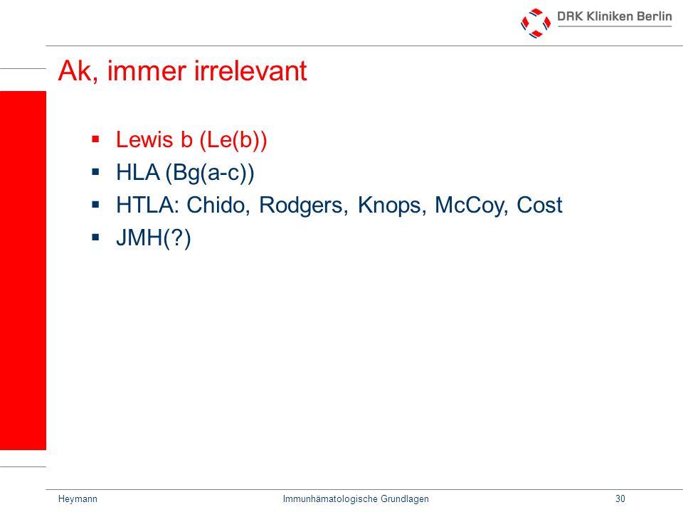 HeymannImmunhämatologische Grundlagen30 Ak, immer irrelevant Lewis b (Le(b)) HLA (Bg(a-c)) HTLA: Chido, Rodgers, Knops, McCoy, Cost JMH(?)