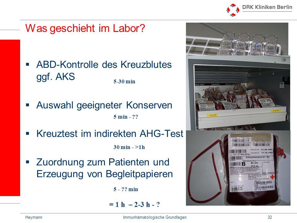 HeymannImmunhämatologische Grundlagen32 Was geschieht im Labor? ABD-Kontrolle des Kreuzblutes ggf. AKS Auswahl geeigneter Konserven Kreuztest im indir
