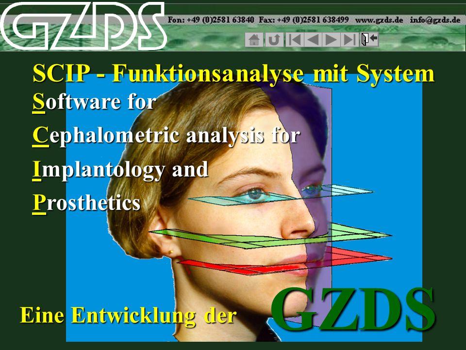Implantologie Prothetik Schienentherapie FRS-Bild mit digitalisierten Punkten und daraus resultierenden Messlinien zur Kontrolle Auswertung des Ist-Zustandes