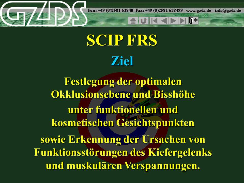 SCIP FRS sowie Erkennung der Ursachen von Funktionsstörungen des Kiefergelenks und muskulären Verspannungen. Ziel unter funktionellen und kosmetischen