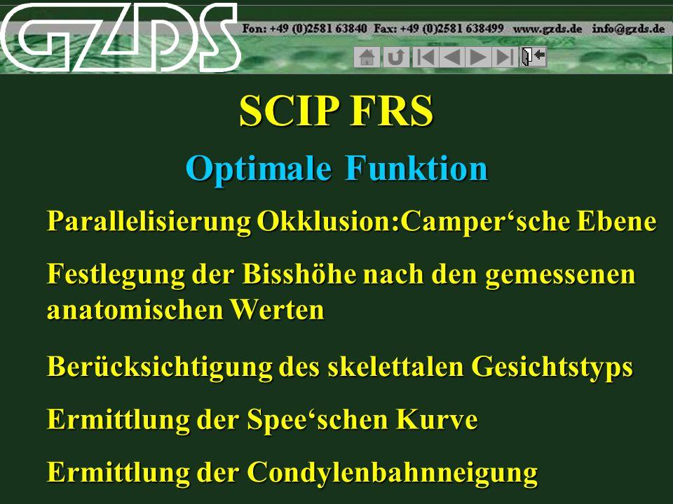 SCIP FRS Optimale Funktion Parallelisierung Okklusion:Campersche Ebene Festlegung der Bisshöhe nach den gemessenen anatomischen Werten Berücksichtigun