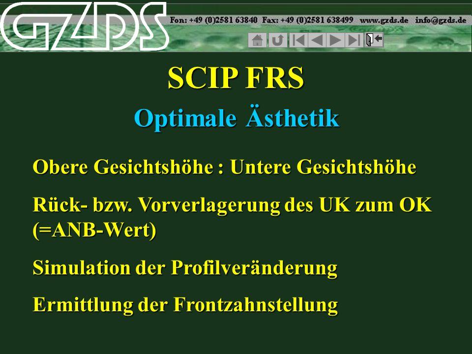 SCIP FRS Optimale Ästhetik Obere Gesichtshöhe : Untere Gesichtshöhe Rück- bzw. Vorverlagerung des UK zum OK (=ANB-Wert) Simulation der Profilveränderu