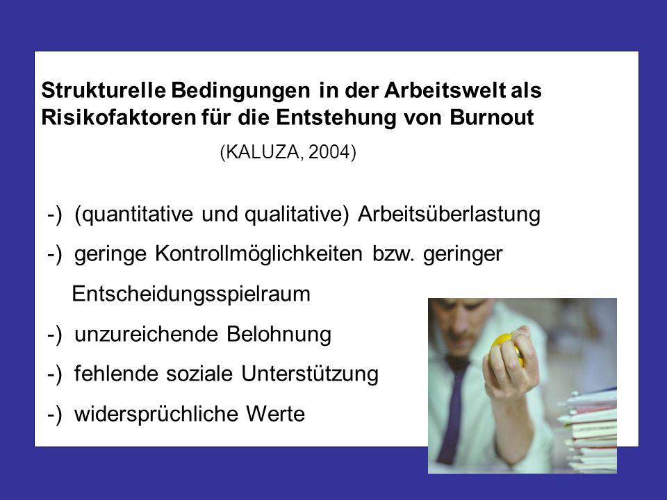 Strukturelle Bedingungen in der Arbeitswelt als Risikofaktoren für die Entstehung von Burnout (KALUZA, 2004) -) (quantitative und qualitative) Arbeits