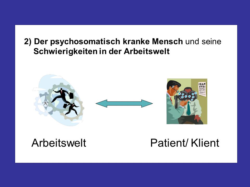 2) Der psychosomatisch kranke Mensch und seine Schwierigkeiten in der Arbeitswelt Arbeitswelt Patient/ Klient