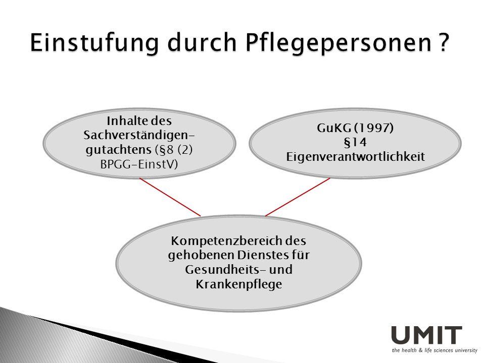 Inhalte des Sachverständigen- gutachtens (§8 (2) BPGG-EinstV) GuKG (1997) §14 Eigenverantwortlichkeit Kompetenzbereich des gehobenen Dienstes für Gesu