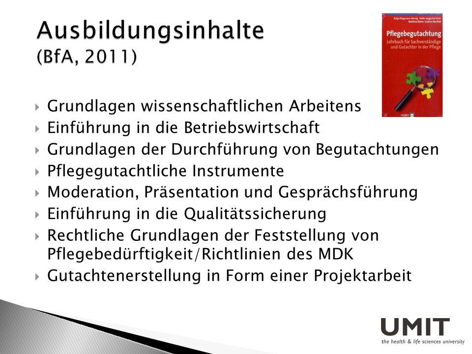 Grundlagen wissenschaftlichen Arbeitens Einführung in die Betriebswirtschaft Grundlagen der Durchführung von Begutachtungen Pflegegutachtliche Instrum