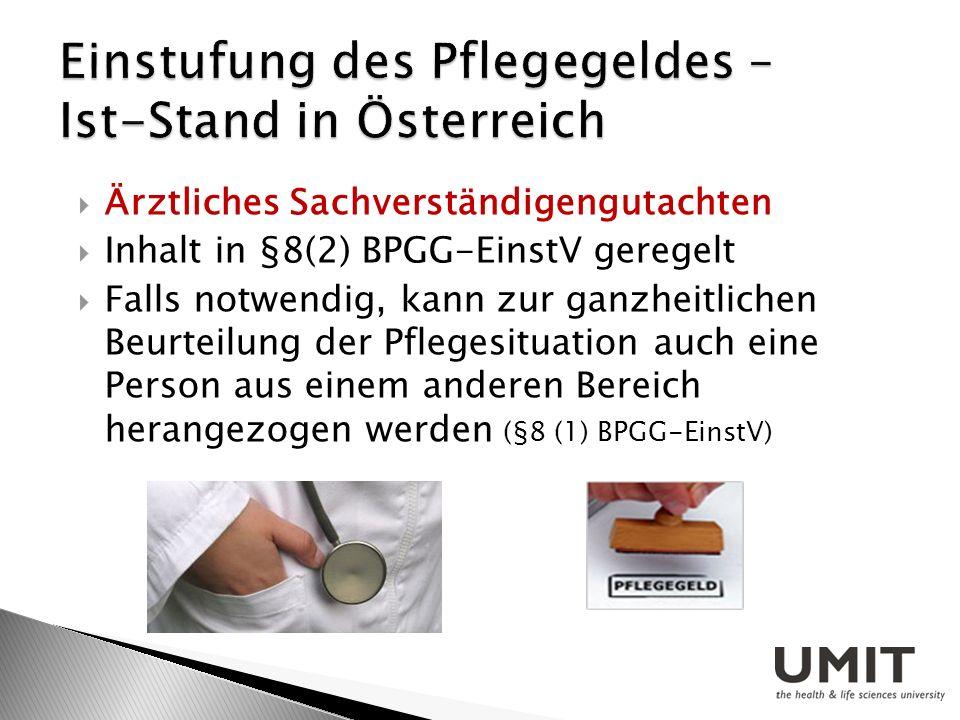 Ärztliches Sachverständigengutachten Inhalt in §8(2) BPGG-EinstV geregelt Falls notwendig, kann zur ganzheitlichen Beurteilung der Pflegesituation auc