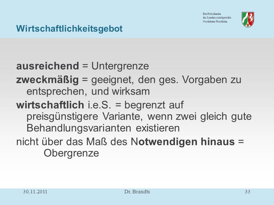 Die Präsidentin des Landessozialgerichts Nordrhein-Westfalen Wirtschaftlichkeitsgebot ausreichend = Untergrenze zweckmäßig = geeignet, den ges.