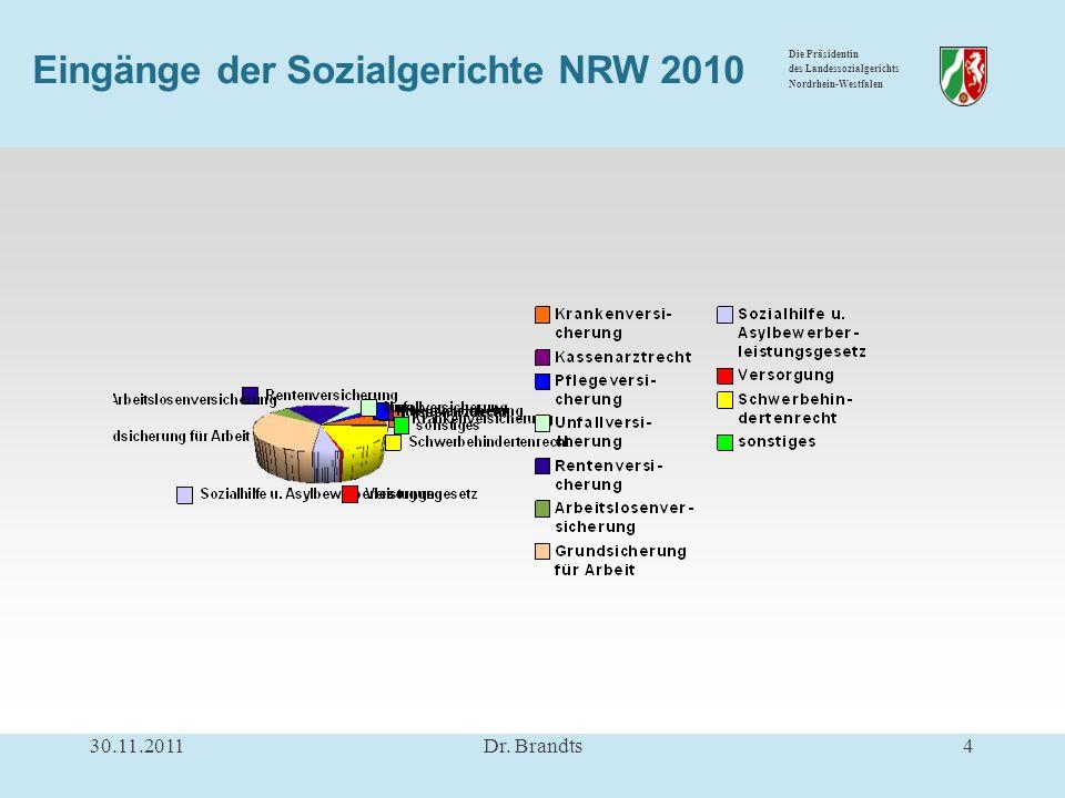 Die Präsidentin des Landessozialgerichts Nordrhein-Westfalen Eingänge der Sozialgerichte NRW 2010 30.11.20114Dr.