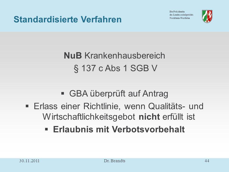 Die Präsidentin des Landessozialgerichts Nordrhein-Westfalen NuB Krankenhausbereich § 137 c Abs 1 SGB V GBA überprüft auf Antrag Erlass einer Richtlinie, wenn Qualitäts- und Wirtschaftlichkeitsgebot nicht erfüllt ist Erlaubnis mit Verbotsvorbehalt Standardisierte Verfahren 30.11.201144Dr.