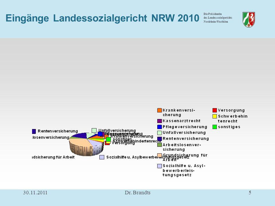 Die Präsidentin des Landessozialgerichts Nordrhein-Westfalen Eingänge Landessozialgericht NRW 2010 30.11.20115Dr.