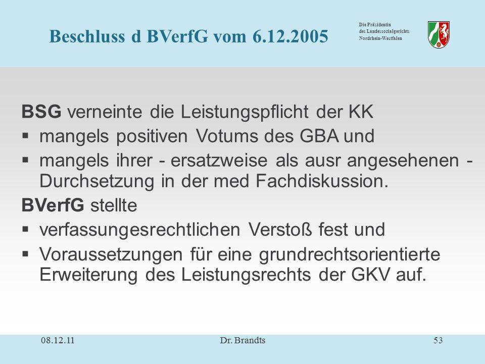 Die Präsidentin des Landessozialgerichts Nordrhein-Westfalen BSG verneinte die Leistungspflicht der KK mangels positiven Votums des GBA und mangels ihrer - ersatzweise als ausr angesehenen - Durchsetzung in der med Fachdiskussion.