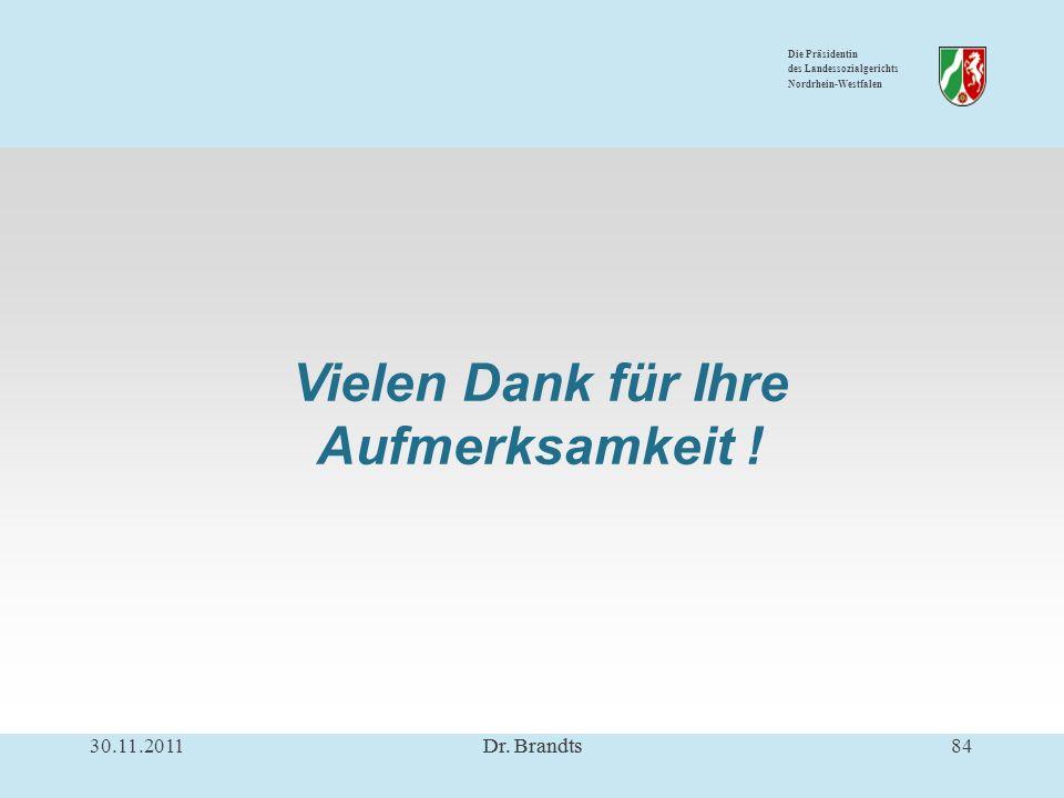 Die Präsidentin des Landessozialgerichts Nordrhein-Westfalen Vielen Dank für Ihre Aufmerksamkeit .