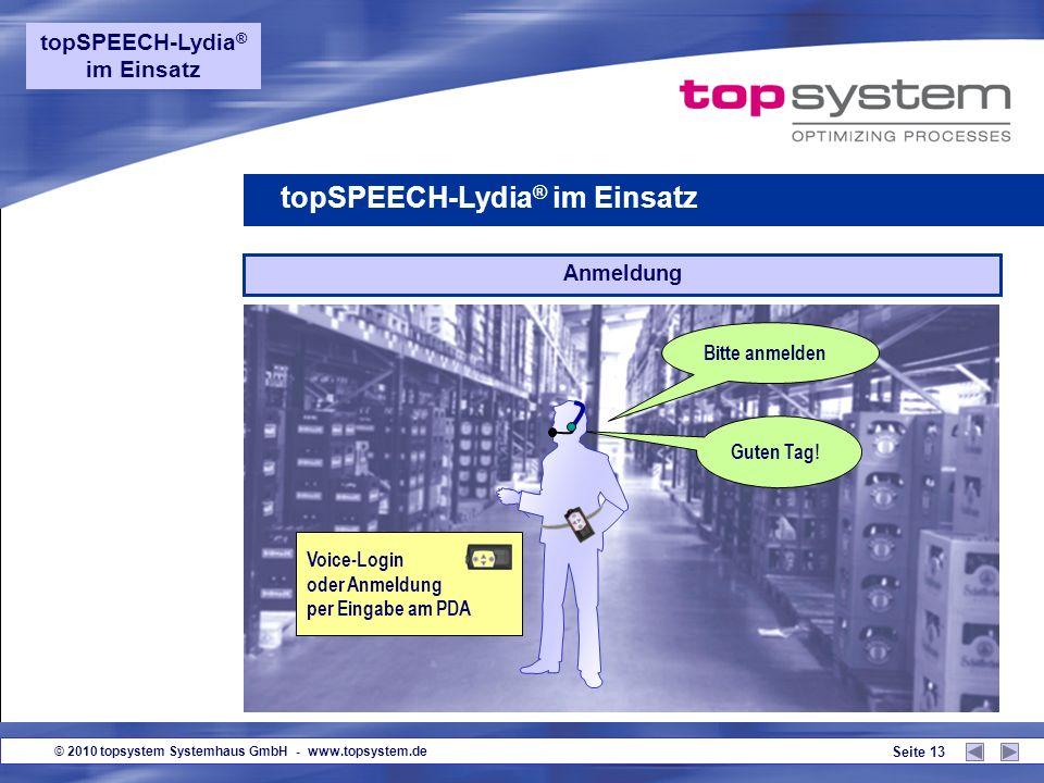 © 2010 topsystem Systemhaus GmbH - www.topsystem.de Seite 12 Server LVS/ WWS/ SAP R/3 Sprachclients Datenaustausch über WLAN Standarddkomponenten WLAN