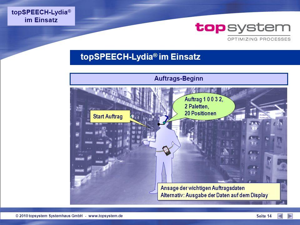 © 2010 topsystem Systemhaus GmbH - www.topsystem.de Seite 13 Guten Tag! topSPEECH-Lydia ® im Einsatz Anmeldung Voice-Login oder Anmeldung per Eingabe