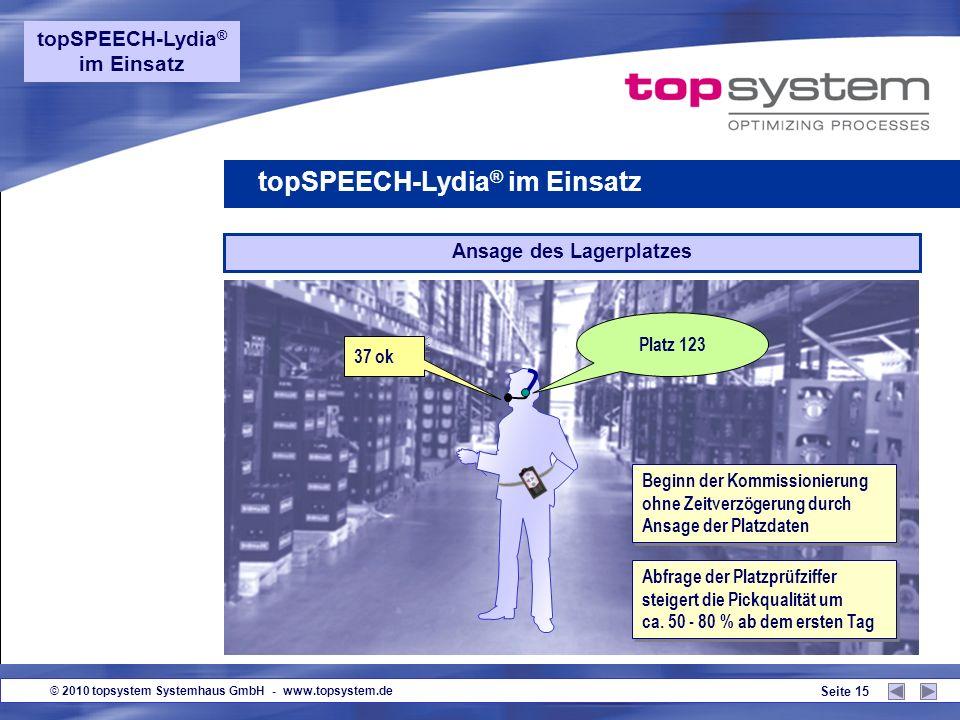 © 2010 topsystem Systemhaus GmbH - www.topsystem.de Seite 14 Auftrags-Beginn Auftrag 1 0 0 3 2, 2 Paletten, 20 Positionen Start Auftrag Ansage der wic