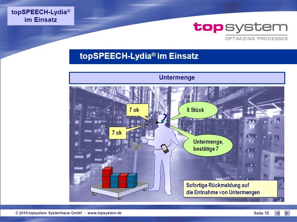 © 2010 topsystem Systemhaus GmbH - www.topsystem.de Seite 17 Übermenge topSPEECH-Lydia ® im Einsatz 9 ok Sofortige Rückmeldung auf die Entnahme von Üb