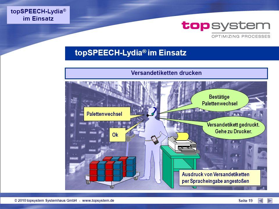 © 2010 topsystem Systemhaus GmbH - www.topsystem.de Seite 18 Untermenge topSPEECH-Lydia ® im Einsatz 7 ok Sofortige Rückmeldung auf die Entnahme von U