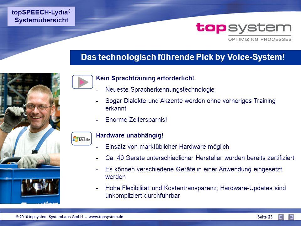 © 2010 topsystem Systemhaus GmbH - www.topsystem.de Seite 22 topSPEECH-Lydia ® - Systemübersicht