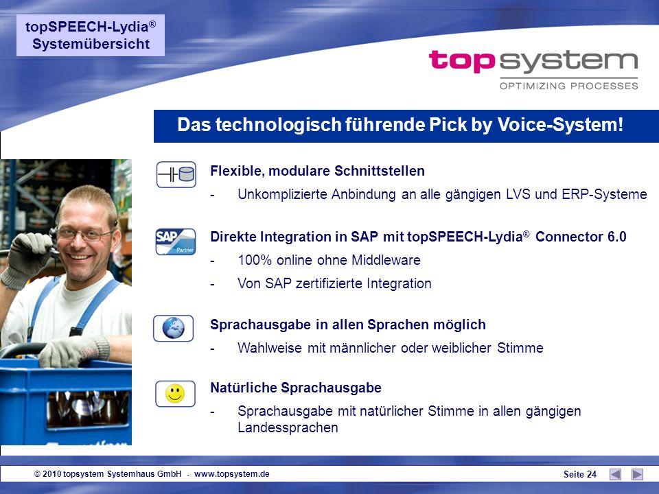 © 2010 topsystem Systemhaus GmbH - www.topsystem.de Seite 23 Kein Sprachtraining erforderlich! -Neueste Spracherkennungstechnologie -Sogar Dialekte un