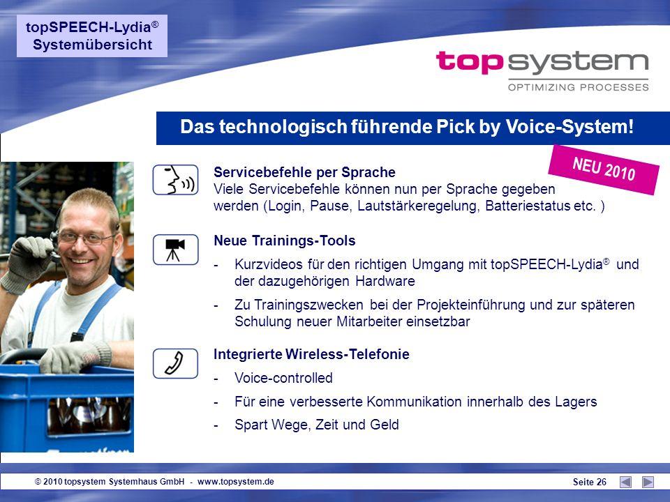 © 2010 topsystem Systemhaus GmbH - www.topsystem.de Seite 25 Audio-Filter - Optimale Spracherkennung auch in lärmintensivem Umfeld Sprachtest und Diag