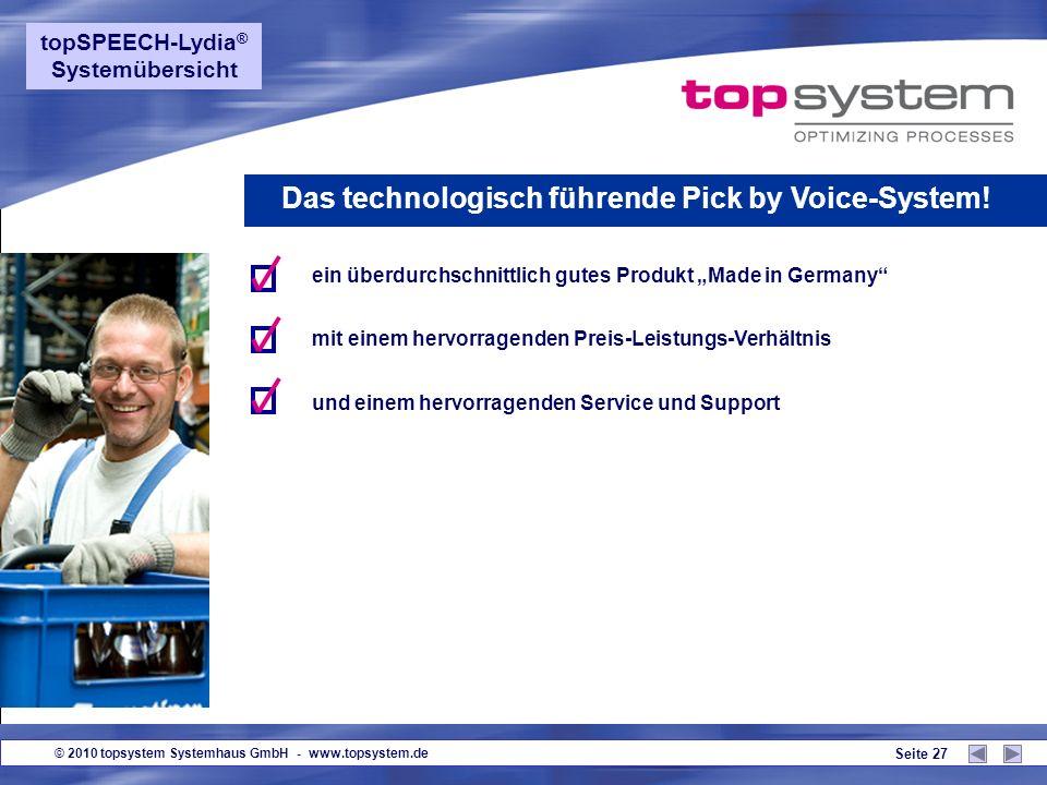 © 2010 topsystem Systemhaus GmbH - www.topsystem.de Seite 26 Das technologisch führende Pick by Voice-System! Neue Trainings-Tools - Kurzvideos für de