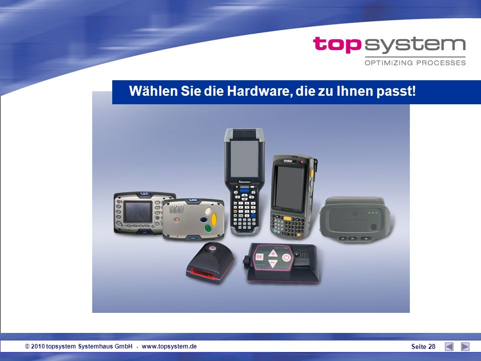 © 2010 topsystem Systemhaus GmbH - www.topsystem.de Seite 27 Das technologisch führende Pick by Voice-System! ein überdurchschnittlich gutes Produkt M
