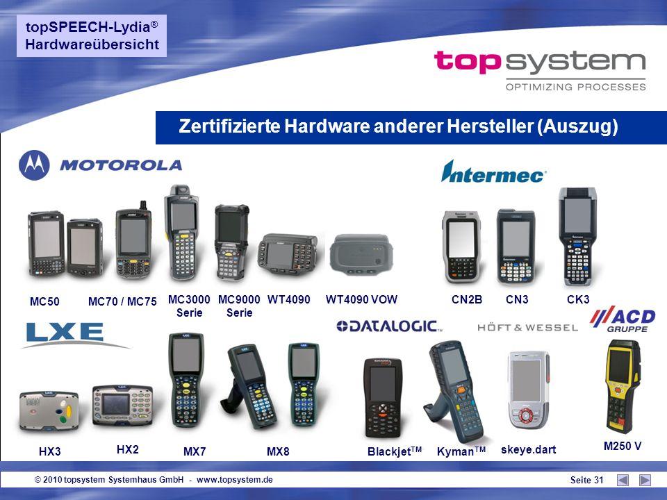 © 2010 topsystem Systemhaus GmbH - www.topsystem.de Seite 30 Barcodescanner mit Bluetooth-Technologie Handlich, leicht und extrem robust Optimiert für