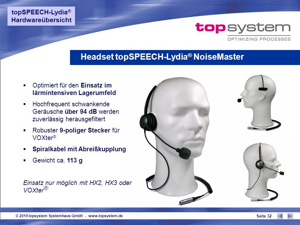 © 2010 topsystem Systemhaus GmbH - www.topsystem.de Seite 31 Zertifizierte Hardware anderer Hersteller (Auszug) topSPEECH-Lydia ® Hardwareübersicht CN