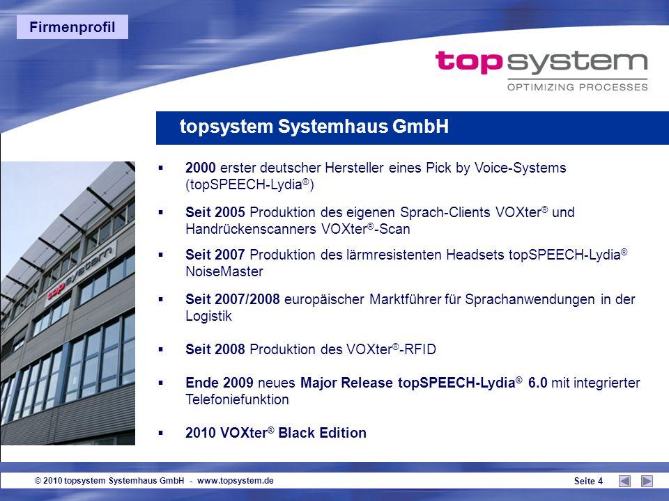 © 2010 topsystem Systemhaus GmbH - www.topsystem.de Seite 3 Gründung 1995 in Würselen bei Aachen Firmenbeteiligungen an topSONIC, Würselen (Umweltdate
