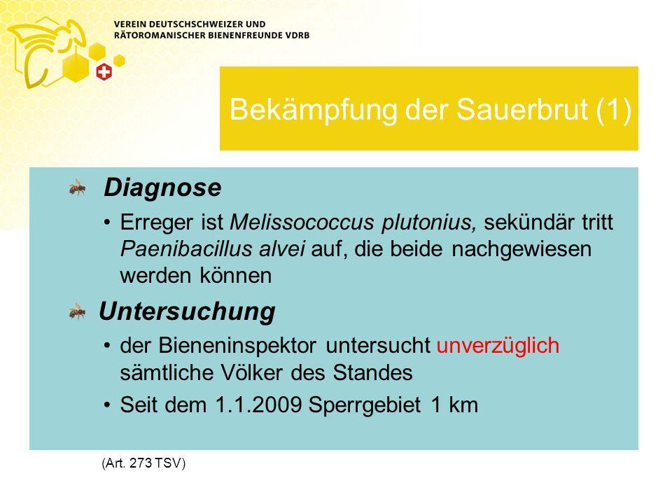 Bekämpfung der Sauerbrut (1) Diagnose Erreger ist Melissococcus plutonius, sekündär tritt Paenibacillus alvei auf, die beide nachgewiesen werden können Untersuchung der Bieneninspektor untersucht unverzüglich sämtliche Völker des Standes Seit dem 1.1.2009 Sperrgebiet 1 km (Art.