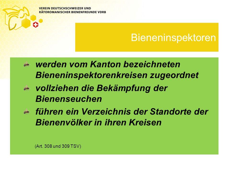 Kosten für Bieneninspektor trägt der Kanton für Laboruntersuchungen trägt der Kanton für Mitwirkung trägt der Imker selbst Schätzung des Schadens gemäss Richtlinien, mind.