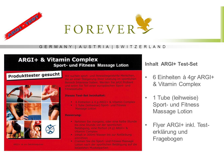 G E R M A N Y | A U S T R I A | S W I T Z E R L A N D Inhalt ARGI+ Test-Set 6 Einheiten à 4gr ARGI+ & Vitamin Complex 1 Tube (leihweise) Sport- und Fi
