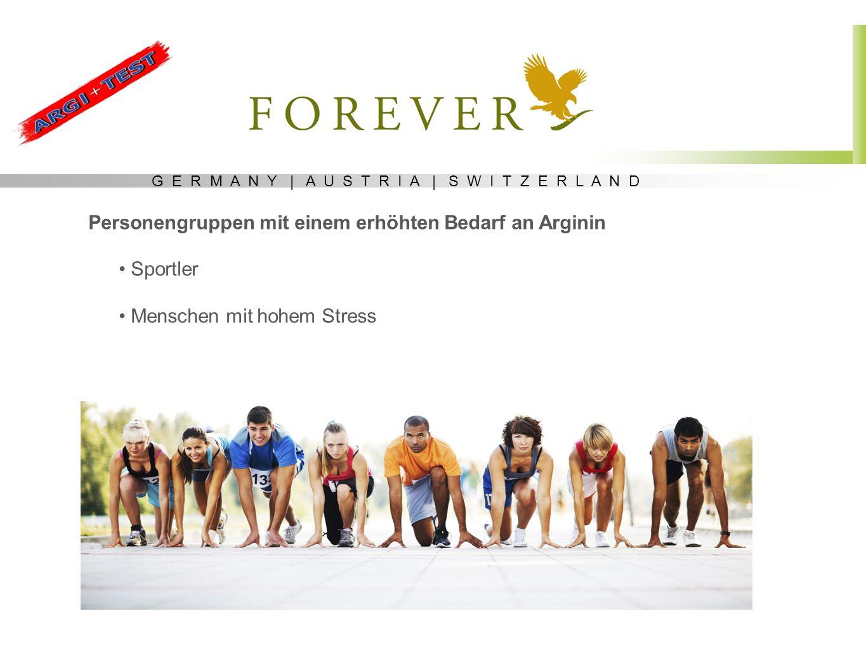 G E R M A N Y | A U S T R I A | S W I T Z E R L A N D Personengruppen mit einem erhöhten Bedarf an Arginin Sportler Menschen mit hohem Stress